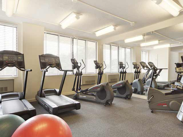 Exercise equipment in the fully equipped on-site Fitness Center