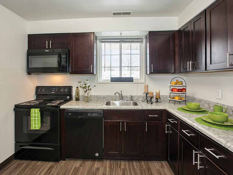 Newly renovated kitchen in an apartment at The Bradford