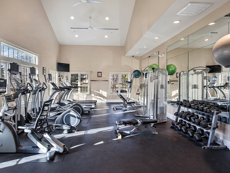 Fully equipped community fitness center at Franklin Commons