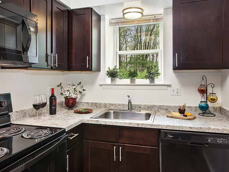 Newly renovated apartment kitchen at Liberty Pointe