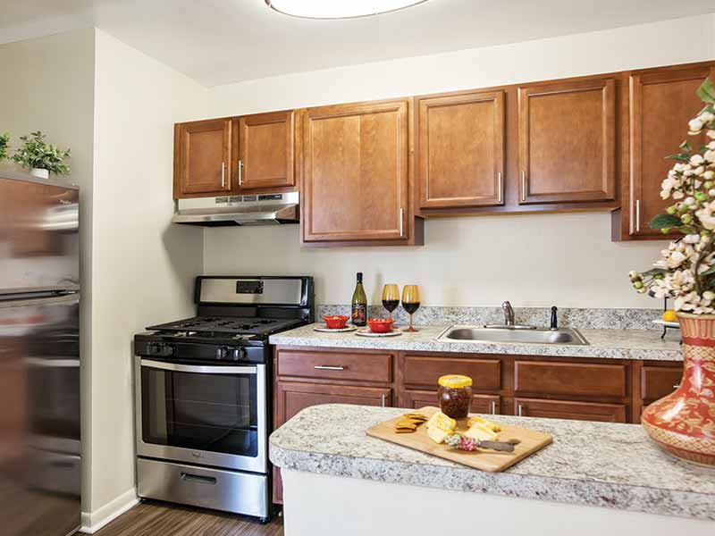 Upgraded apartment kitchen at Timber Pointe