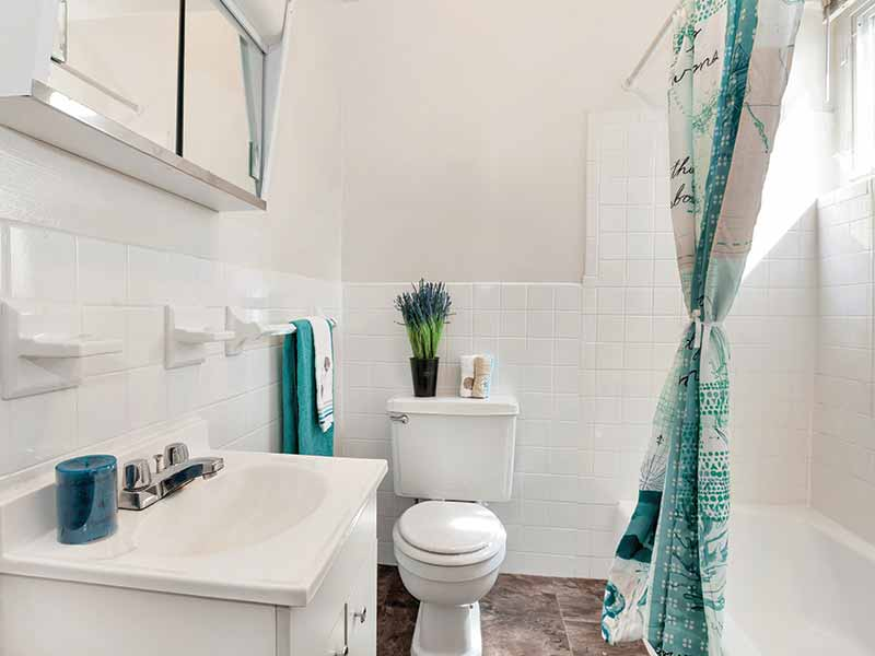 Newly renovated apartment bathroom at Timber Pointe
