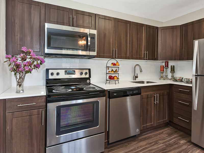 Upgraded kitchen with stainless steel appliances at Valley Park