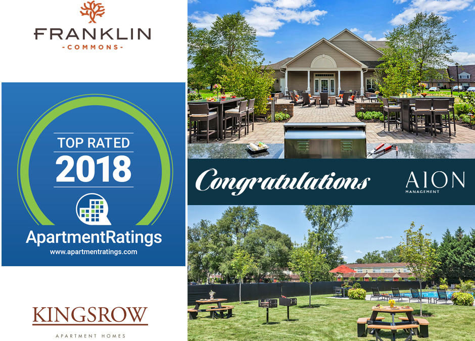 AION Wins Apartment Ratings' Top Rated Community of 2018